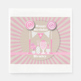 Vintage Pink Candy Buffet Birthday Napkins