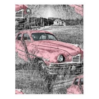 vintage pink car postcard