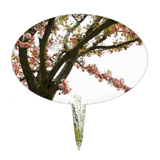 Vintage pink cherry blossom tree cake topper
