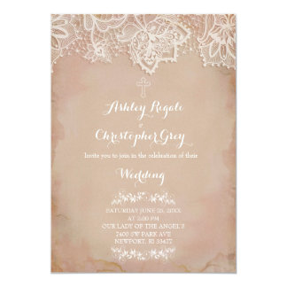 Vintage Pink Christian Wedding Invitation