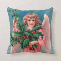Vintage pink Christmas Angel decor pillow