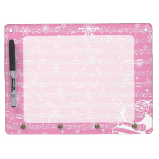 Vintage Pink Christmas Musical Sheet Dry Erase Board With Keychain Holder