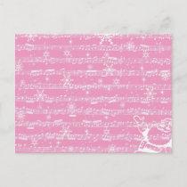 Vintage Pink Christmas Musical Sheet