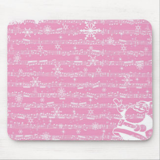 Vintage Pink Christmas Musical Sheet Mouse Pad