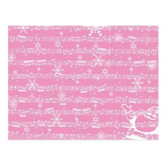 Vintage Pink Christmas Musical Sheet Postcard