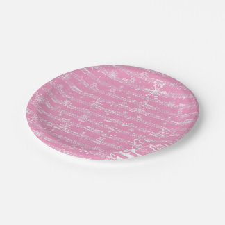 Vintage Pink Christmas Musical Sheet 7 Inch Paper Plate