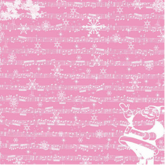 Vintage Pink Christmas Musical Sheet Statuette