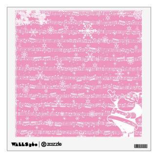 Vintage Pink Christmas Musical Sheet Wall Decor