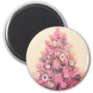 Vintage Pink Christmas Tree 2 Inch Round Magnet