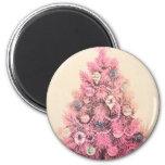 Vintage Pink Christmas Tree Refrigerator Magnets