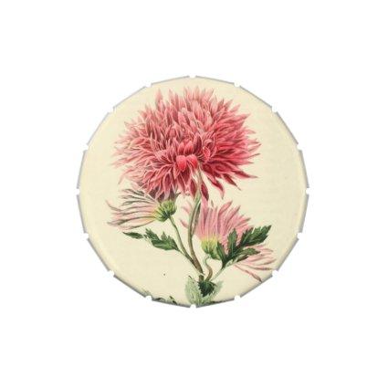 Vintage Pink Chrysanthemum Flower Candy Tins