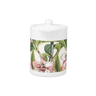Vintage Pink Chrysanthemum Flower Teapot