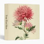 Vintage Pink Chrysanthemum Flower Vinyl Binder