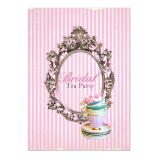 vintage pink country stripes bridal tea party card