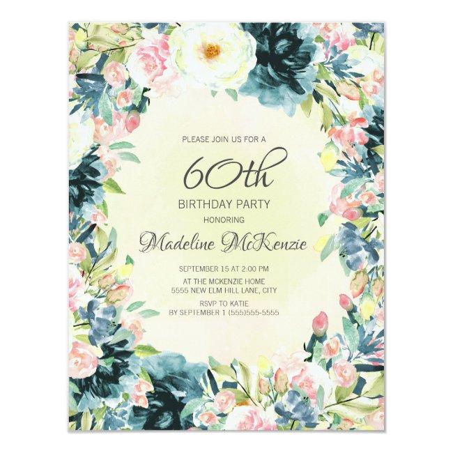 Vintage Pink Cream Floral Wreath 60th Birthday Invitation