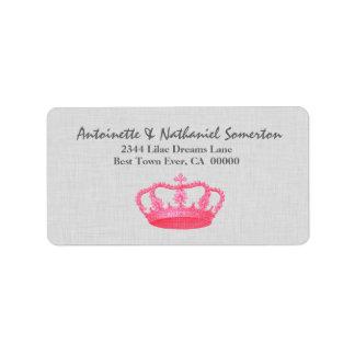 Vintage PINK Crown Wedding V06 Custom Address Labels