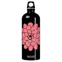Vintage Pink Dahlia Floral Wedding Aluminum Water Bottle