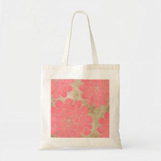 Vintage Pink Dahlia Floral Wedding Tote Bags