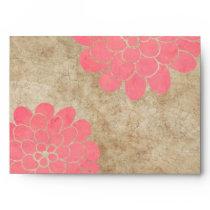Vintage Pink Dahlia Floral Wedding Envelope