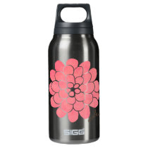 Vintage Pink Dahlia Floral Wedding Insulated Water Bottle