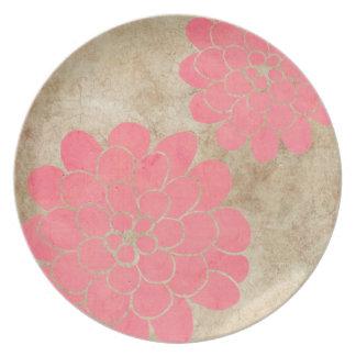 Vintage Pink Dahlia Floral Wedding Dinner Plates