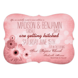 Vintage Pink Daisies Typography Wedding Invitation
