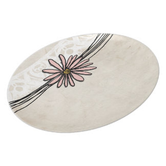 Vintage Pink Daisy Melamine Plate