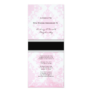 "Vintage Pink Damask Anniversary Party Invitation 4"" X 9.25"" Invitation Card"