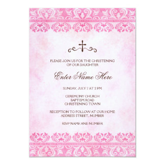 Vintage pink damask baptism/christening invitation