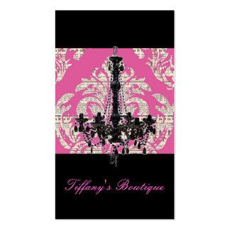Vintage Pink Damask Chandelier Boutique Business Card