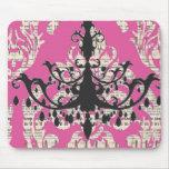 Vintage Pink Damask  Chandelier Mouse Pad