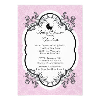 Vintage Pink Damask Girls Baby Shower Invitation