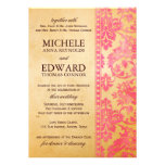 Vintage Pink Damask Lace Wedding Personalized Invites