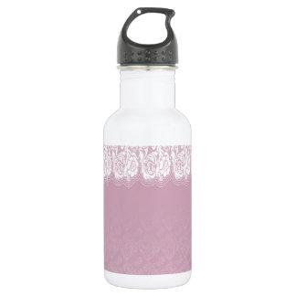 Vintage,pink,damask,lace,white,chic,elegant,girly, 18oz Water Bottle