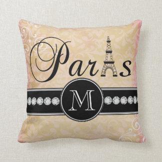 Vintage Pink Damask Paris Monogrammed Throw Pillows
