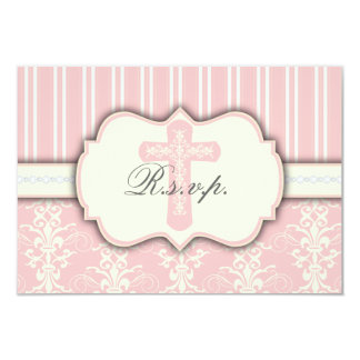 Vintage Pink Damask Religious RSVP Response Card Personalized Invitations