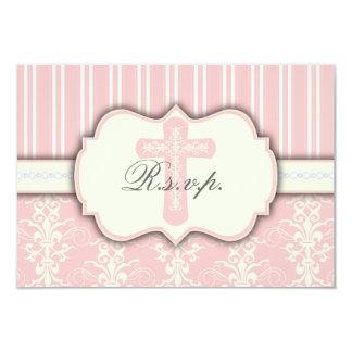 "Vintage Pink Damask Religious RSVP Response Card 3.5"" X 5"" Invitation Card"