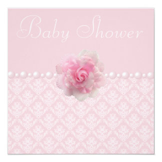 Vintage Pink Damask, Rose & Pearls Baby Shower Card