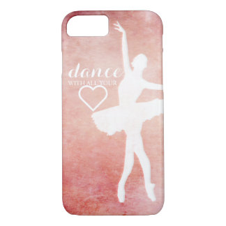 Vintage pink design with ballerina silhouette iPhone 7 case