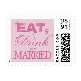 Vintage pink eat drink be married wedding stamps