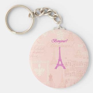 Vintage Pink Eiffel Tower Basic Round Button Keychain