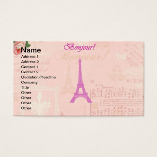 Vintage Pink Eiffel Tower Business Card