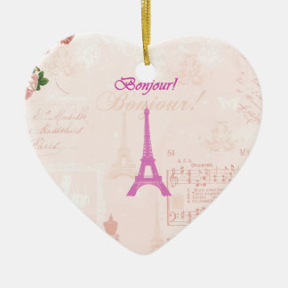 Vintage Pink Eiffel Tower Christmas Tree Ornaments