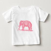 Vintage Pink Elephant 1800s Elephants Illustration Baby T-Shirt
