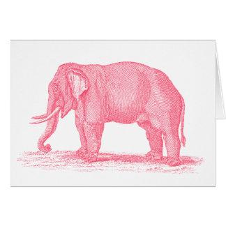 Vintage Pink Elephant 1800s Elephants Illustration Card