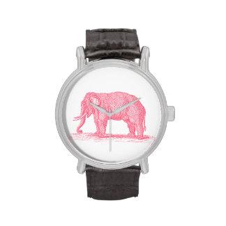 Vintage Pink Elephant 1800s Elephants Illustration Wrist Watches