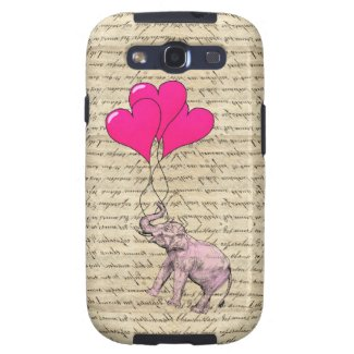 Vintage pink elephant & balloons galaxy s3 case