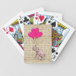 Vintage pink elephant & balloons bicycle card decks