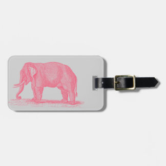 Vintage Pink Elephant on Gray 1800s Elephants Bag Tag