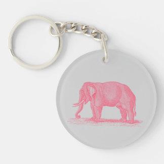 Vintage Pink Elephant on Gray 1800s Elephants Keychain